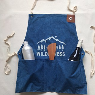 Order production Indigo dyed Aizen - WILDERNESS WORK APRON 10 oz CANVAS SIZE - L