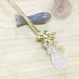 Tung Aya disposed referred decorative pull days, {~} song Magnolia Magnolia jade water mist natural natural bone brass Bob hair hairpin inserted hairpin