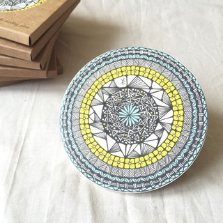 Ceramic Tangles Coaster/ Yellow Flora
