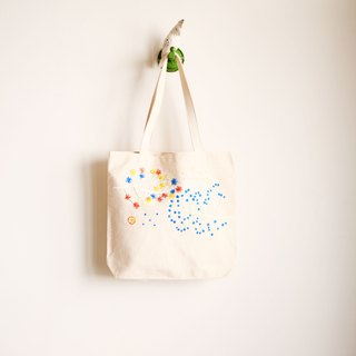 Wind blowing ice hand made embroidery shopping bags