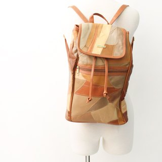 Vintage leather European camel multicolor block stitching backpack antique bag European Vintage Bag