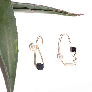 YUNSUO-original design-black agate pearl asymmetric earrings (non refundable)