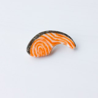 Handmade Japanese Light Clay Salmon Pin Brooch Accessories