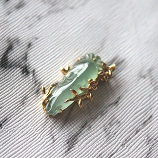Journal-叶根根根冰晴 fluorescent old pit pure natural jade (Burma jade) 18K gold real diamond pendant