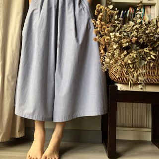 /Du Leli small gardener / gray blue pinstripe long version wide pants skirt 100% cotton