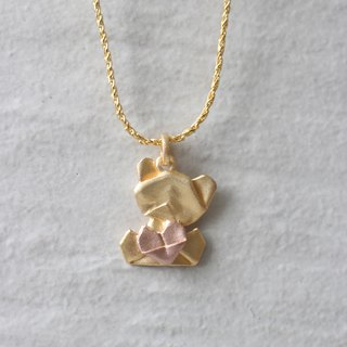Bear My Love - 925 Silver Origami Bear My Love Necklace (Golden/Matte)