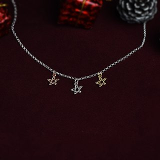 3-color small stars (sterling silver, K gold plated, rose gold necklace star silverware) Christmas Gifts :: C% handmade jewelry ::