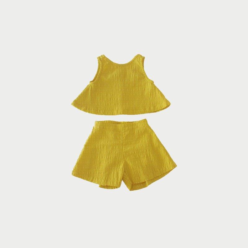 凹凸棉兩件式套裝 (黃)