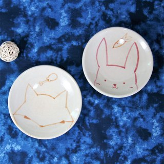 Cute animal hand-painted pottery plate, plate, dinner plate, fruit plate, snack plate - about 11.5 cm in diameter