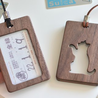 Wooden card case Large size 【Scythe cats】 Walnut