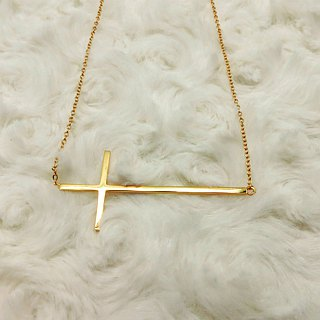 Cross Clavicle Necklace 925 Silver Simple Pendant Gold Clad