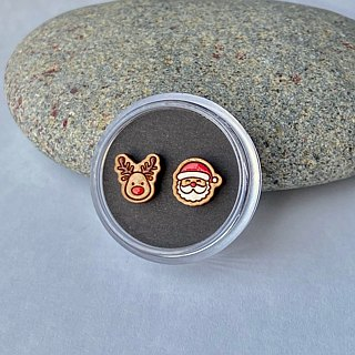Painted  wood earrings-Santa Claus