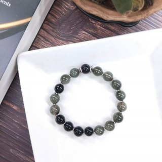 Bracelet. Green hair crystal*black glass*pure silver septum neutral wild bracelet
