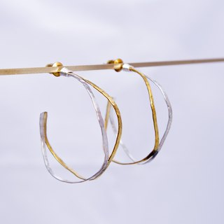 Silver x Brass - Basic loop Hammered Texture Earrings - Handmade-Silver Ear stud