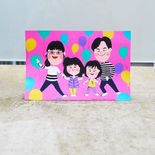 British Cute Style Customized Portrait -4 Person Family Portrait Pink Parental Portrait Mother's Day Gift Birthday/Valentine/Wedding/Christmas/Universal/Mother's Day/engagement/Proposal/Membrella Hand Painted Card
