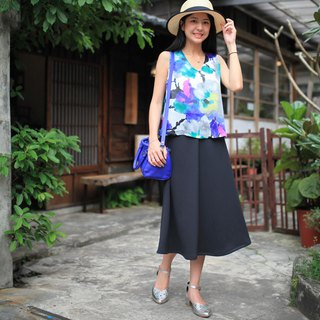 GT black elastic long skirt S