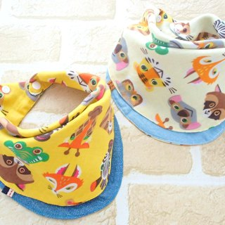 Baby Bib, Set of 2, Reversible Baby Bandana Bib, Japanese Cotton, Animal Faces