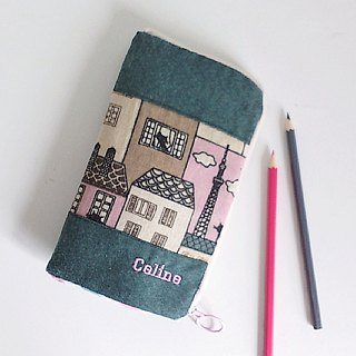 Standing Pen Case (Dark Green x Pink cat)