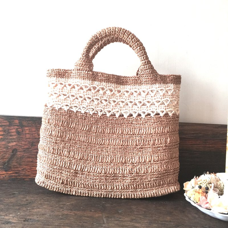 The fate came to weave walking bag / woven bag / paper Raffia / bag