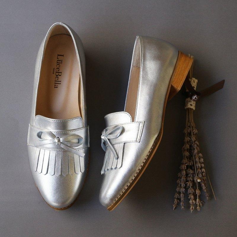 【換季特賣】-流轉的木星-流蘇樂福鞋-銀