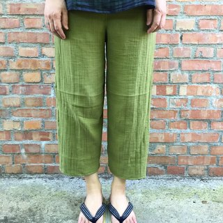 Natural wash muscle double cotton yarn Kyoto green tea pants multicolor