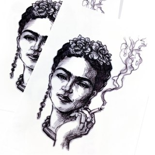 LAZY DUO Realistic Temporary Tattoo Sticker Ink-wash Portrait Frida Kahlo Artist
