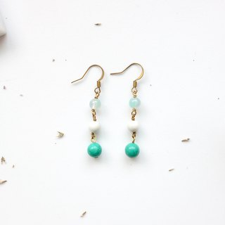 Brass Earrings | Agate | White Turquoise | Turquoise Ear Pins / Ear Clips
