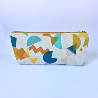 筆袋/化妝袋 Pencil Case Canvas Zipper Pouch - Geometric Fun Shapes Cut Out