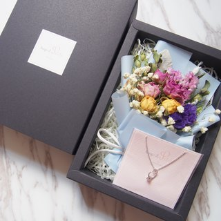 [Christmas Romantic Bouquet Gift Box] Mini Dry Bouquet (Pink Blue) + [Mini Ring Necklace]