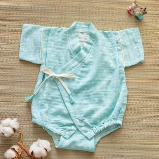 [My little star] hand man Tiffany blue cotton candy organic cotton double yarn is very flat and clothing package fart clothing
