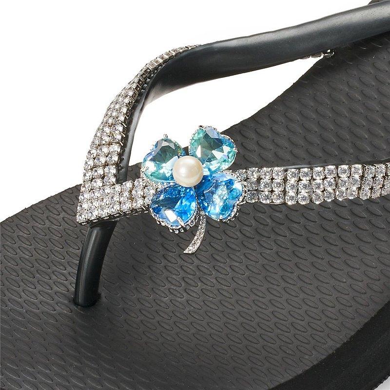 女款6cm厚底夾腳拖鞋-頂級首飾工藝水鑽-幸運草藍彩 爵士黑