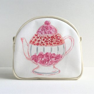 Gardener's Tea Party round pierced gusseted pouch teapot pattern pink