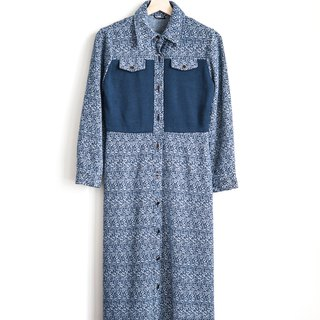Vintage flower full of woolen vintage long-sleeved dress
