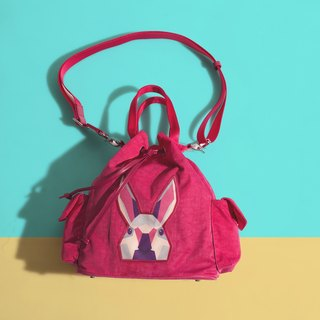 Khieng Atelier Diamond Rabbit Rabbit diamond shoulder bucket bag - love powder