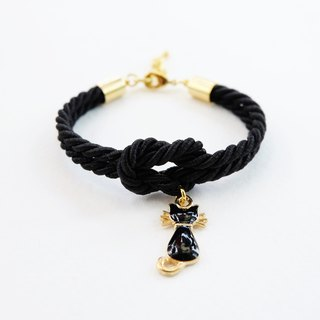 Black knot bracelet with kitten charm