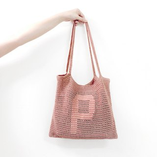 Customized Alphabet Crochet Tote Bag | Dusty Pink