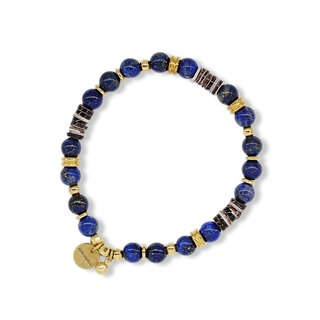 String Series Brass Lapis Shell Bracelet Natural Ores
