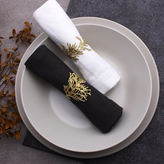 Cypress leaf napkin ring ornament brass nature plant