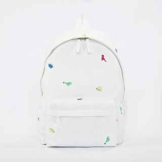 Dinosaur Embroidery Canvas Backpack / White