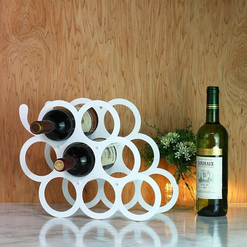 【OPUS Dongji Metalworking】 Collection (Grape) Wine Rack - Elegant White / Metal Home / Wine Decoration / Living Room Wine Holder / Wine Bottle Display Stand / In House New Wedding Gifts / White Wedding Party Layout WR-gr12 (W )