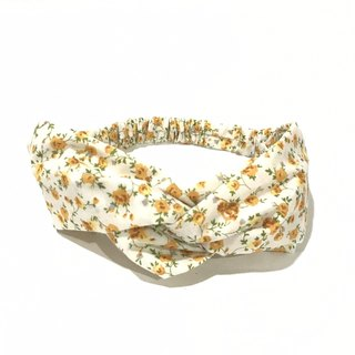 Yellow flower on white / handmade elastic hair band