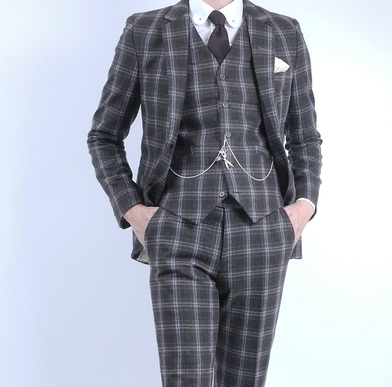 HIATUS dark green window Plaid suit suit