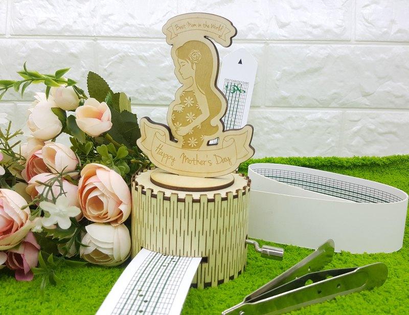 自家設計 木製手搖音樂盒 - 懷孕媽媽 生日禮物 母親節 禮物