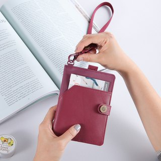 <Gift box with pen + lanyard> LUSTRE Passport holder - wine red