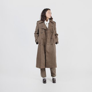 [Egg plant ancient] Nordic detective check double-breasted wool vintage coat