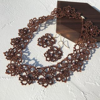 tatted lace necklace (chocolate color) / gift / customize