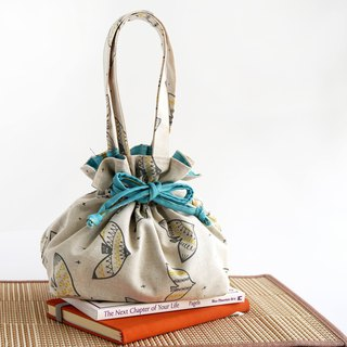 Drawstring Top Handle Handbag - Sketched Bird
