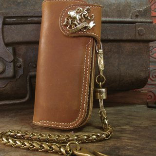 Biker long Wallet chain ring Genuine Leather piston octopus squid TENTACLE men