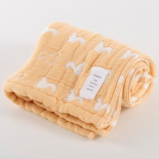 [Japan made immediate crepe] six heavy yarn towel - yellow squirrel
