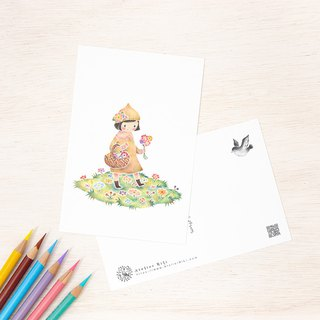 "4 pieces set. Like a picture book. Postcard ""Girl With Flowers"" PC-305"